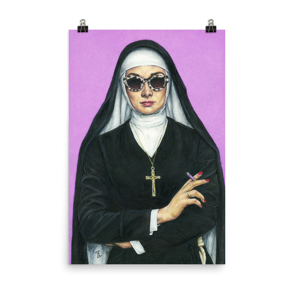 24 x 36 inch high quality art poster. artwork of a nun smoking on a purple background