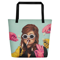 trendy beach bag with art of lady smoking while pink & yellow gloves offer a light on dusty blue