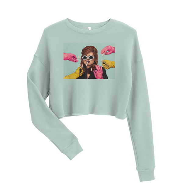 original art apparel, mint green dusty blue crop top sweatshirt size medium and large, always wear a rubber drawing, fits small