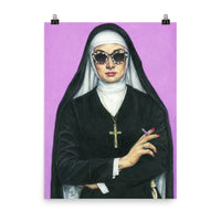 18 x 24 inch high quality art poster. artwork of a nun smoking on a purple background
