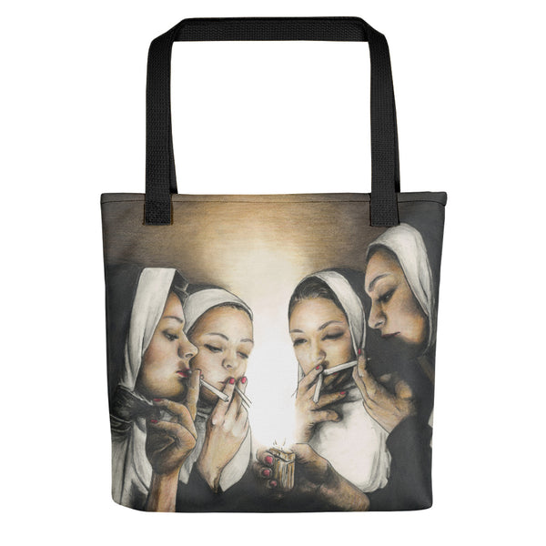 trendy shoulder tote bag with pretty, nuns smoking, weed around a lighter, nuns smoking tote bag