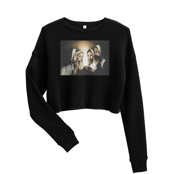smoking nuns sweatshirt, poster nuns smoking, nun artwork, graphic black crop top