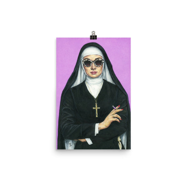 12 x 16 inch high quality art poster. artwork of a nun smoking on a purple background