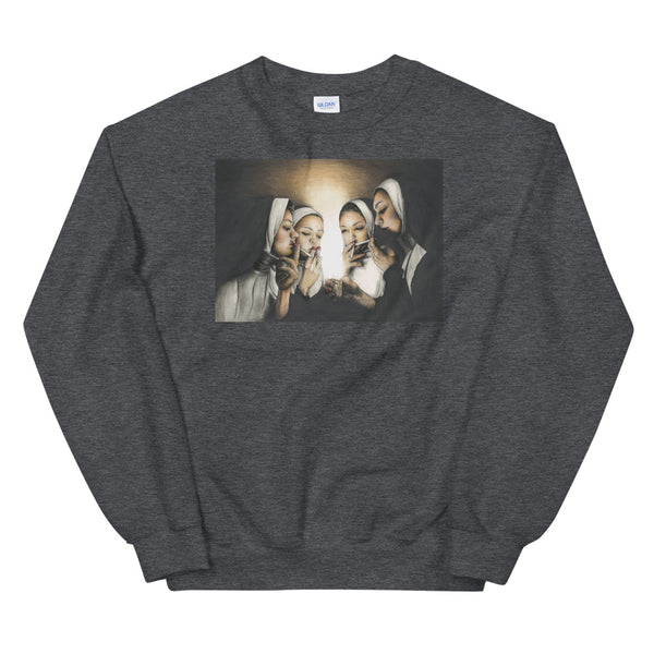 nuns smoking sweatshirt in heather grey