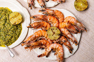 Grilled King Prawns and mojo verde