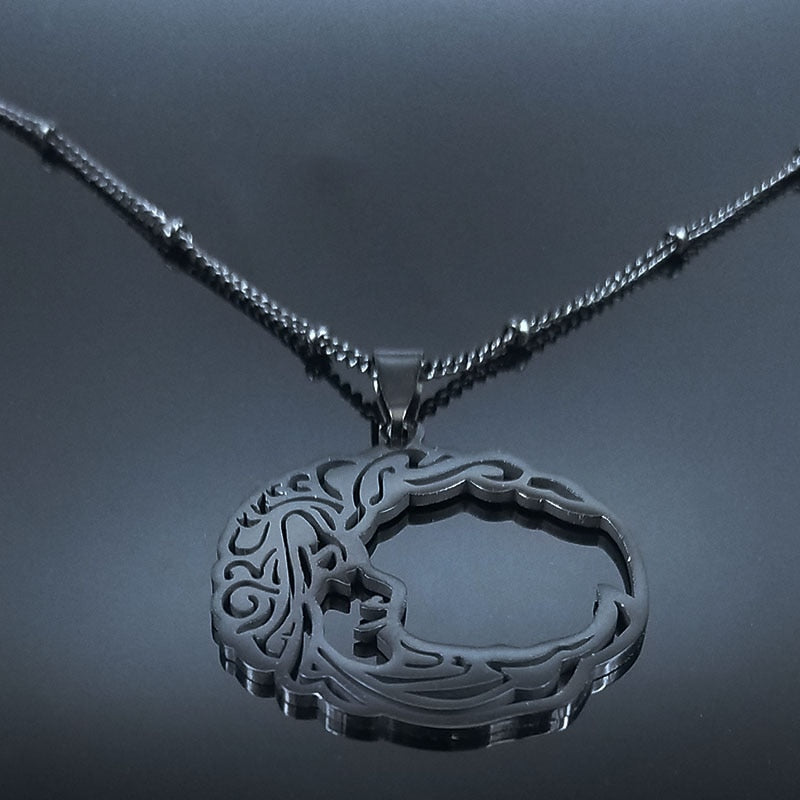Gothic Moon Face Necklace