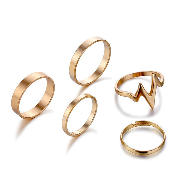 5pcs Gold/Silver Lightning wave Rings