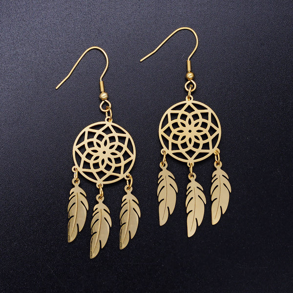Lotus Feather Dream Catcher Earrings