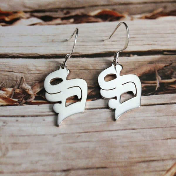 Personalised Old English Hanging Earrings