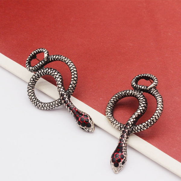 Punk Red Snake Drip Earrings