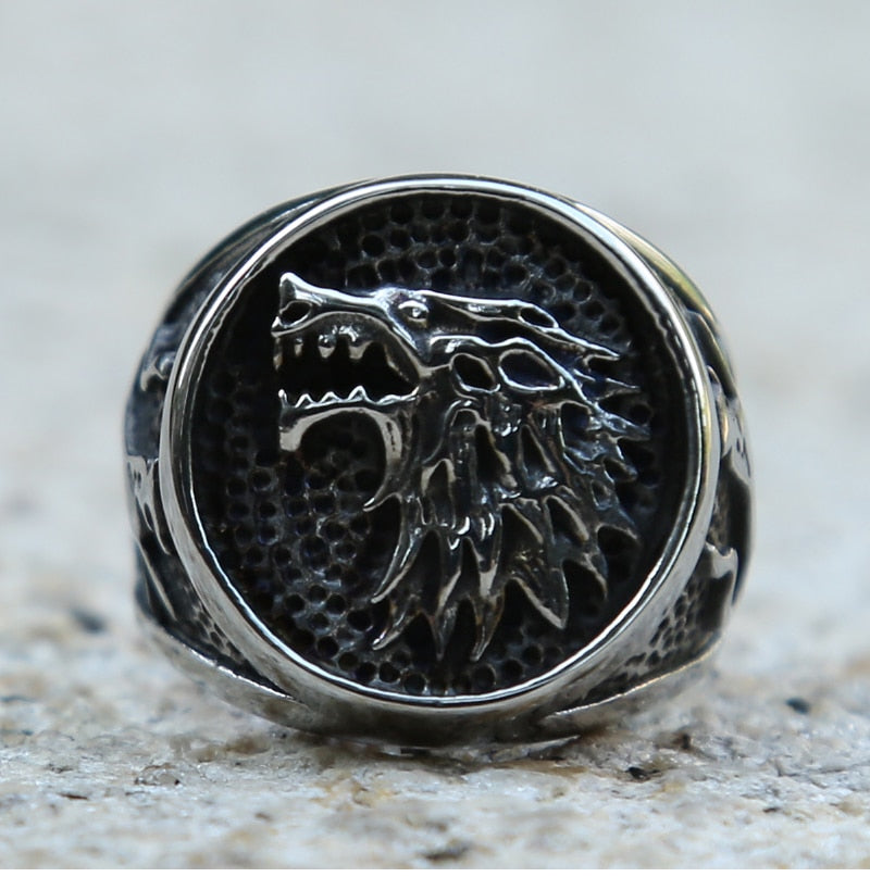 Viking Nordic Wolf Ring