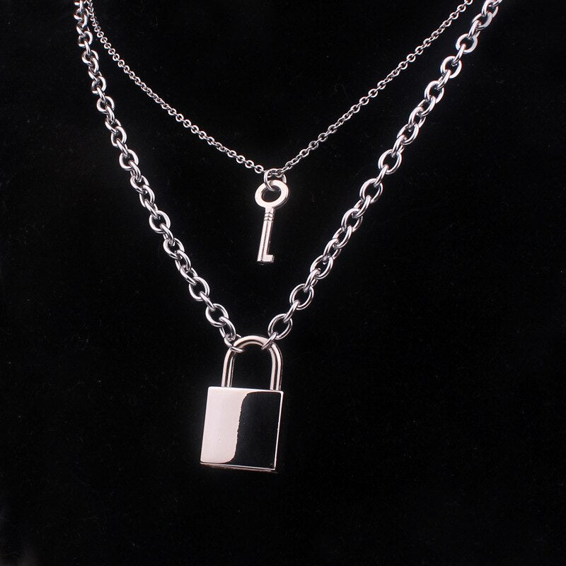 Stainless Steel Padlock Key Necklace