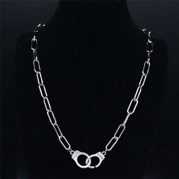 Stainless Steel Punk Handcuffs Necklace