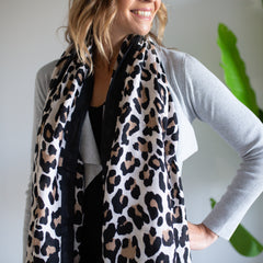Black Trim Leopard Scarf