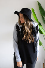 Casual Denim Jacket - Black/Grey