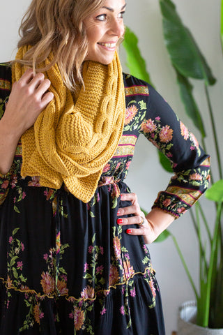 Cable Scarf - Mustard