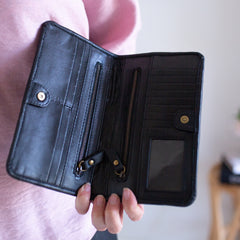 Fringe Leather Wallet- Black
