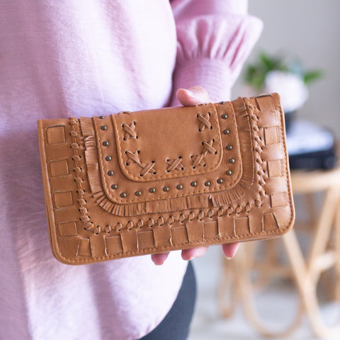 Fringe Leather Wallet- Tan