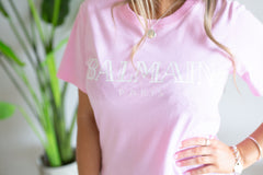 Fashion Tee- Balmain - Pink