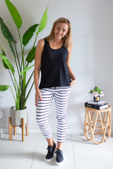 Miley Pant - White/Black Stripe