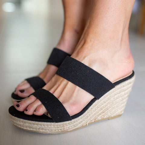 Peta Wedge- Black Linen