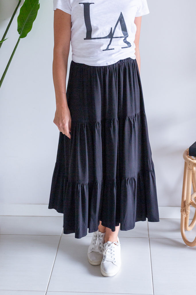 Layer Maxi Skirt - Black