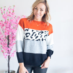 Millie Leopard Knit - Orange