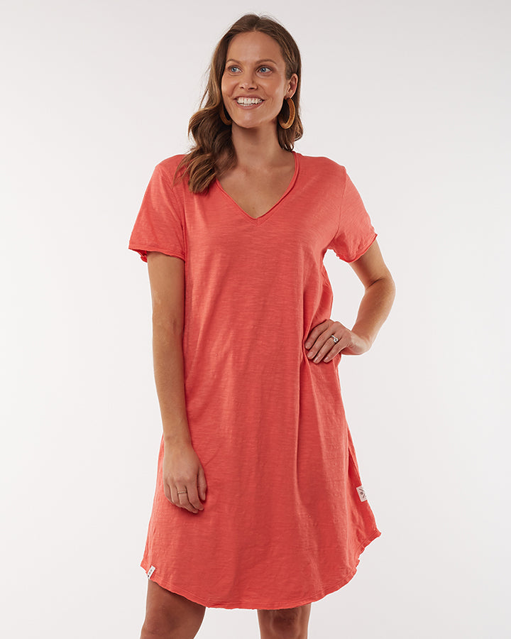Mary Textured Dress - Coral Peach