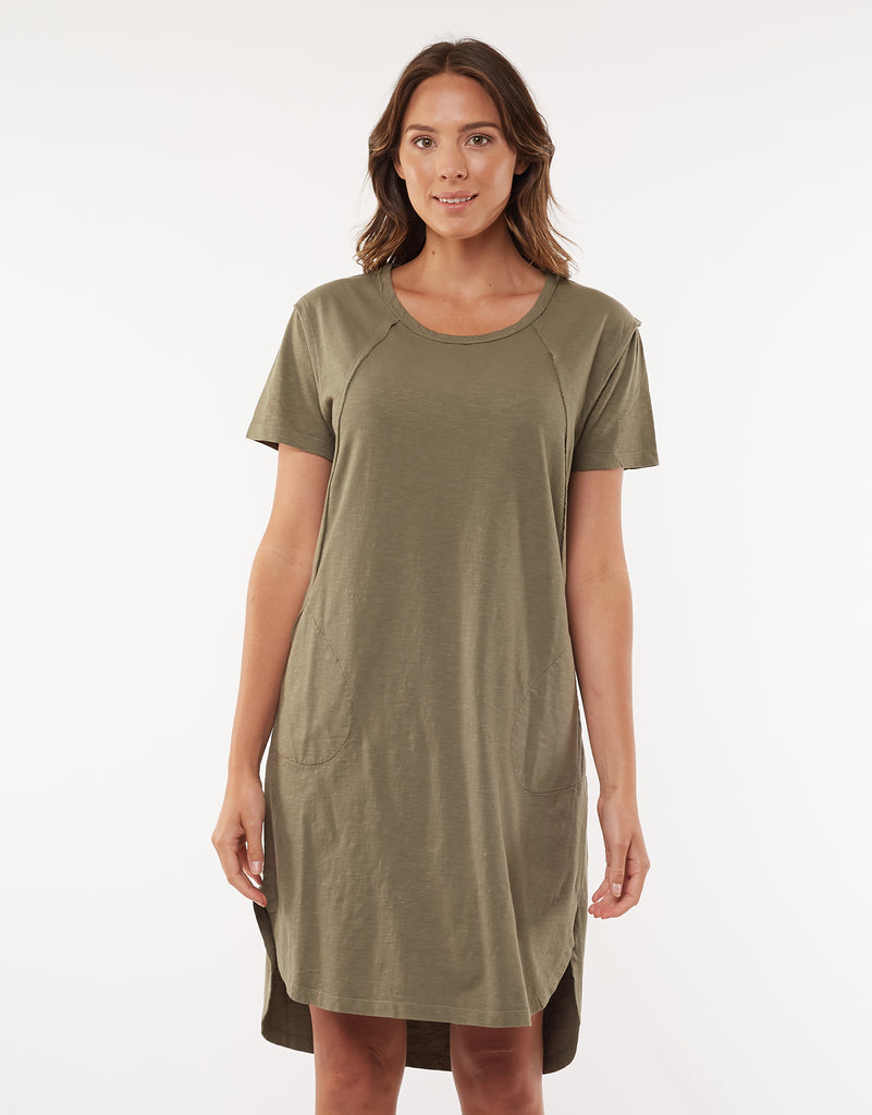 Mackenzie Short Sleeve Dress- Khaki