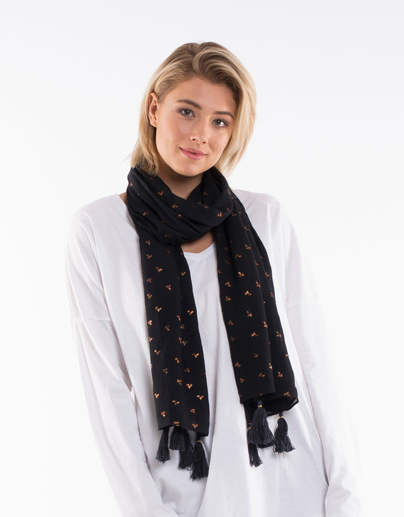 Metallic Lines Scarf - Black Rose Gold