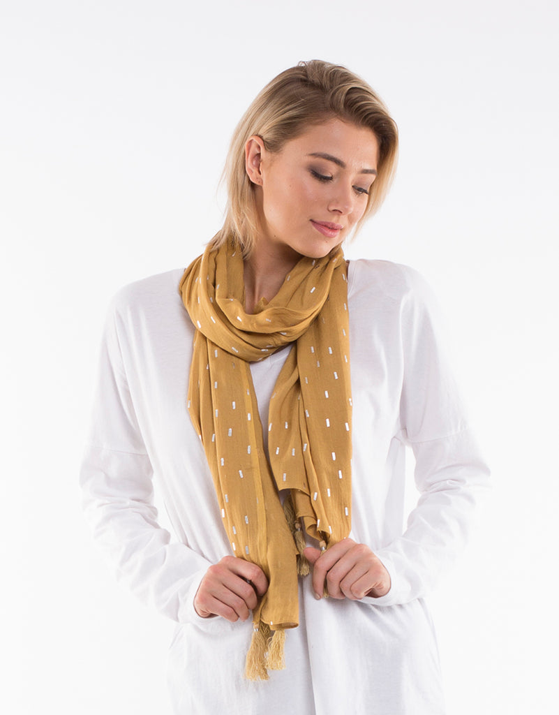 Metallic Sunset Scarf - Mustard
