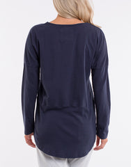 Fundamental Rib L/S Top - Navy