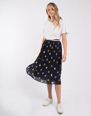 Soft Pleat Skirt - Navy