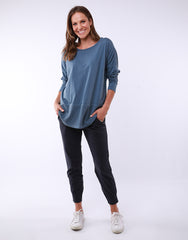 Fundamental Rib L/S Top - Steel Blue