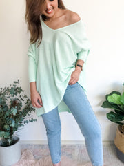 Marley Light V-Neck Knit - Mint