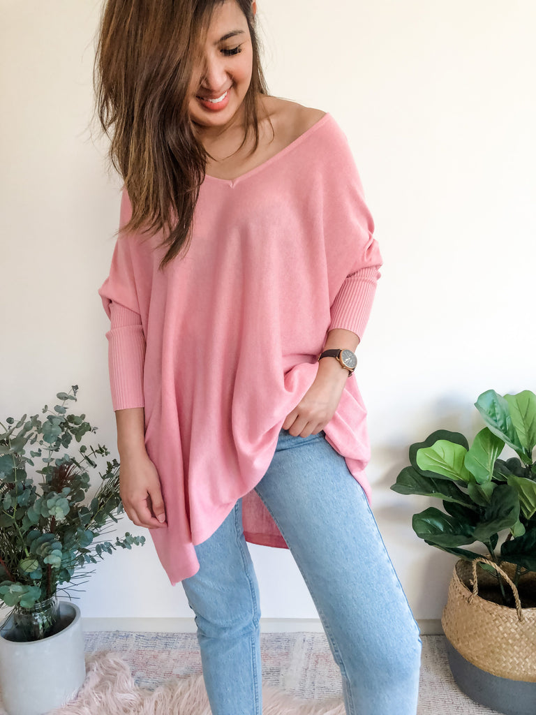 Marley Light V-Neck Knit - Pink