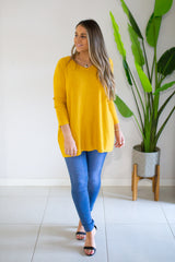 Mia V-Neck Knit - Mustard