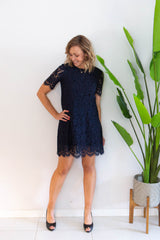 Alyssa Lace Dress- Navy