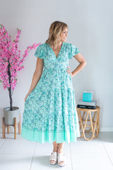 Aster Dress - Mint Paisley
