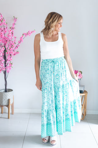 Mint Paisley Maxi Skirt