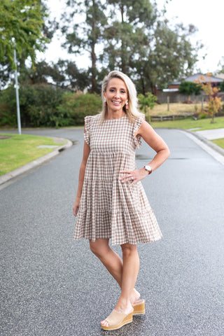 Cotton Frill Layer Dress - Brown Gingham