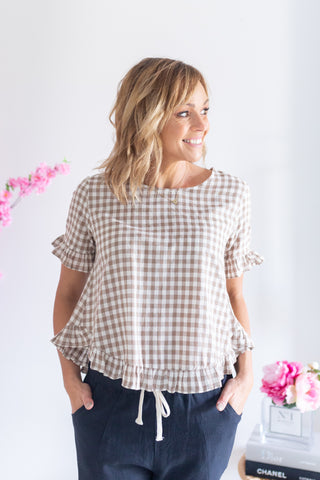 Cotton Frill Top- Brown Natural Gingham