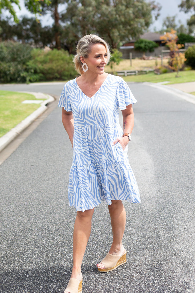 Blue Swirl V-Neck Dress