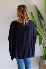 Julia Oversized Top - Navy