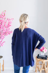Mia Round Neck Knit - Navy