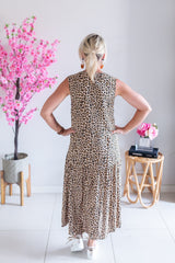 Sleeveless Drop Hem Dress- Leopard