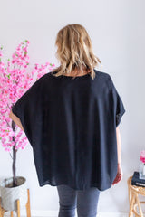 Linen Drape Top - Black