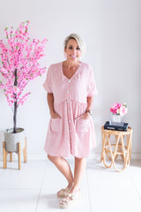 Gingham Holiday Dress- Pink