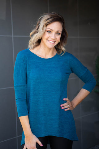 Amber  Slouch Knit Top - Teal