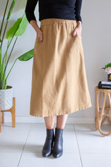 Linen Pocket Skirt- Natural Mustard